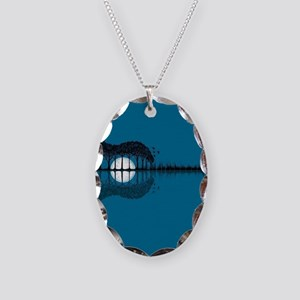 Trees sea and the moon turned Necklace Oval Charm