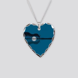 Trees sea and the moon turned Necklace Heart Charm