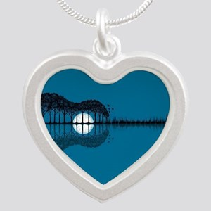 Trees sea and the moon turned guitar Necklaces