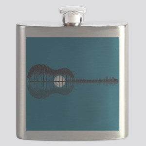 Trees sea and the moon turned guitar Flask