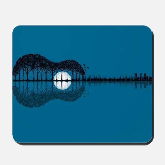 Trees sea and the moon turned guitar Mousepad