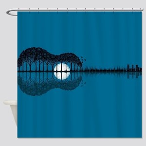 Trees sea and the moon turned guita Shower Curtain