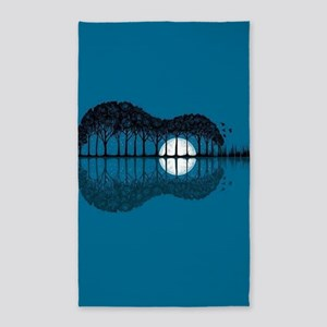 Trees sea and the moon turned guitar Area Rug