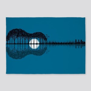 Trees sea and the moon turned guita 5'x7'Area Rug