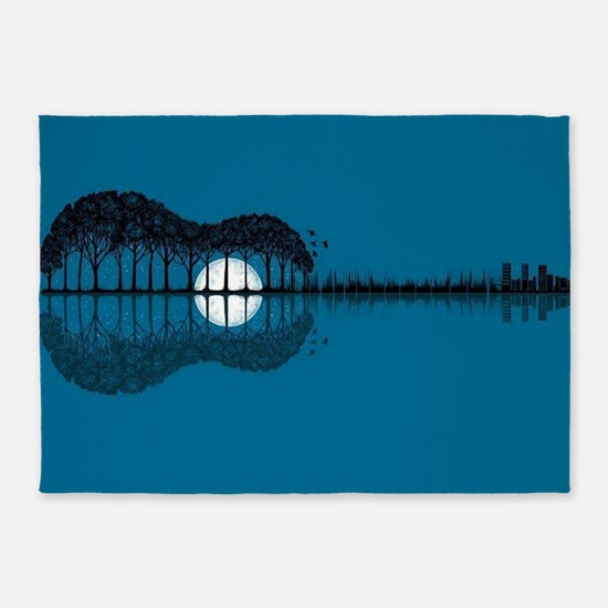 Trees sea and the moon turned guita 5'x7'Area Rug