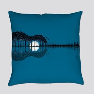 Trees sea and the moon turned guit Everyday Pillow