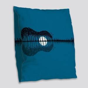 Trees sea and the moon turned Burlap Throw Pillow