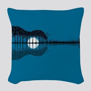 Trees sea and the moon turned Woven Throw Pillow