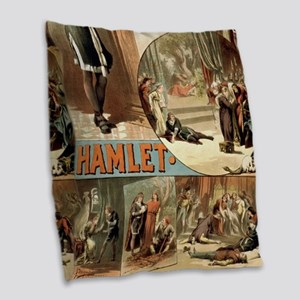 Vintage Hamlet Theatre Poster Burlap Throw Pillow