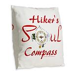 Hiker's Soul Compass Burlap Throw Pillow