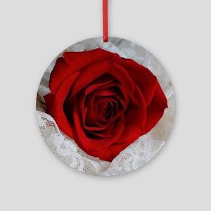 Wonderful Red Rose Round Ornament