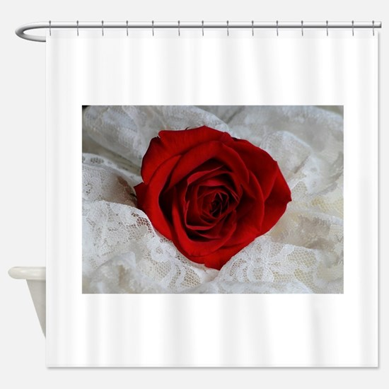 Wonderful Red Rose Shower Curtain
