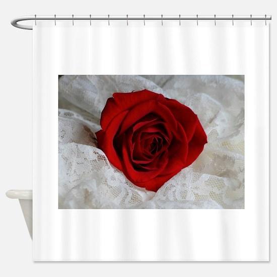 Wonderful Red Rose Shower Curtain