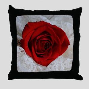 Wonderful Red Rose Throw Pillow