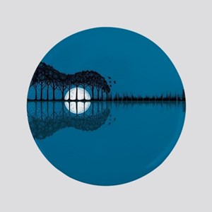 """Trees sea and the moon turned guitar 3.5"""" Button"""
