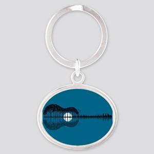 Trees sea and the moon turned guitar Keychains