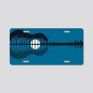 Trees sea and the moon turn Aluminum License Plate