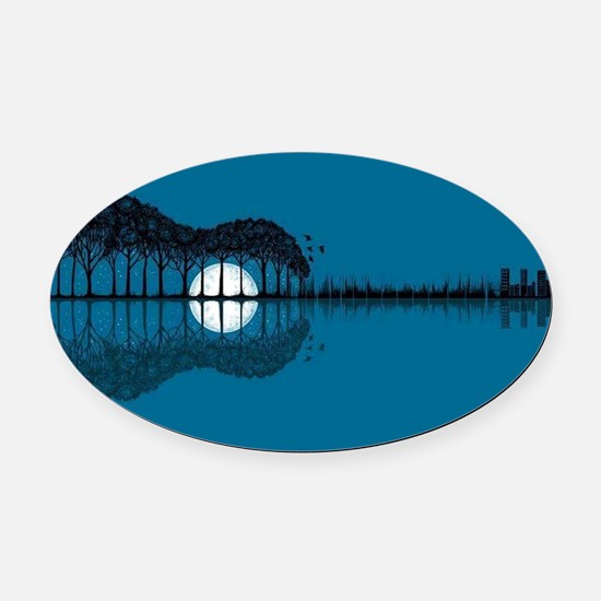 Trees sea and the moon turned guit Oval Car Magnet