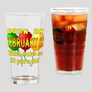 Leap Yr Birthday 20 Drinking Glass
