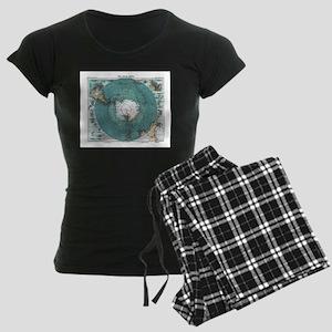 Vintage Antarctica Map Women's Dark Pajamas
