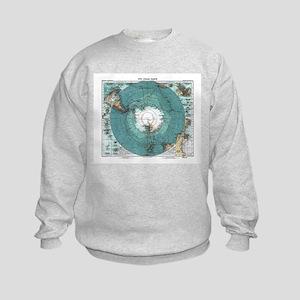 Vintage Antarctica Map Kids Sweatshirt