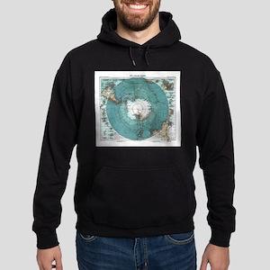 Vintage Antarctica Map Hoodie (dark)