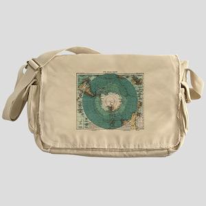 Vintage Antarctica Map Messenger Bag