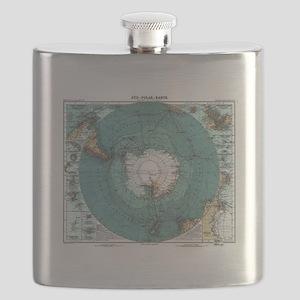 Vintage Antarctica Map Flask