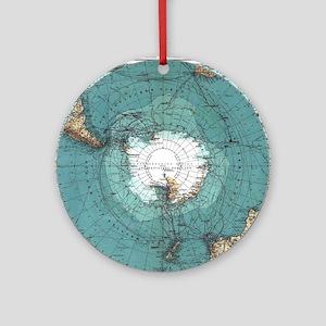 Vintage Antarctica Map Round Ornament