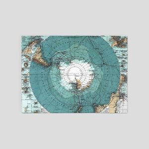 Vintage Antarctica Map 5'x7'Area Rug