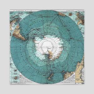 Vintage Antarctica Map Queen Duvet
