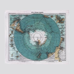 Vintage Antarctica Map Throw Blanket