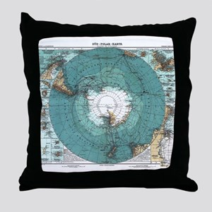 Vintage Antarctica Map Throw Pillow
