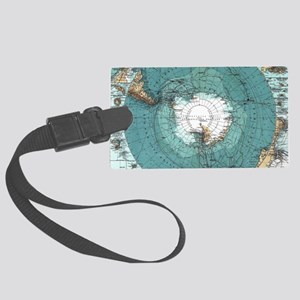 Vintage Antarctica Map Large Luggage Tag