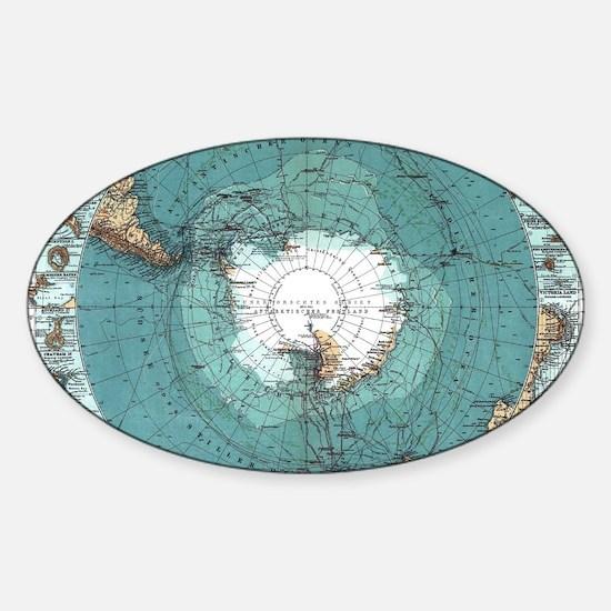 Vintage Antarctica Map Decal