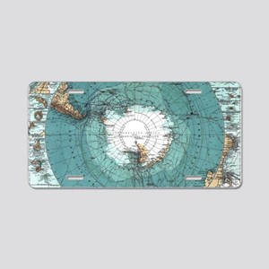 Vintage Antarctica Map Aluminum License Plate