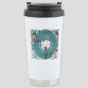 Vintage Antarctica Map Stainless Steel Travel Mug