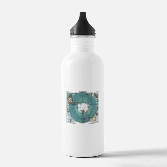 Vintage Antarctica Map Water Bottle