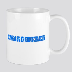 Embroiderer Blue Bold Design Mugs