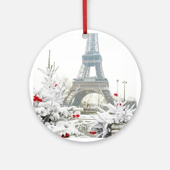 Winter in Paris Round Ornament