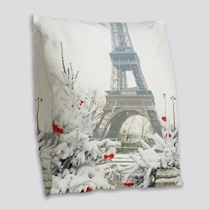 Winter in Paris Burlap Throw Pillow