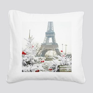 Winter in Paris Square Canvas Pillow