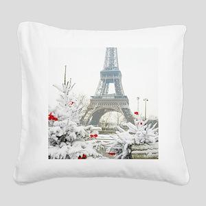 Winter in Paris Square Canvas Pillow