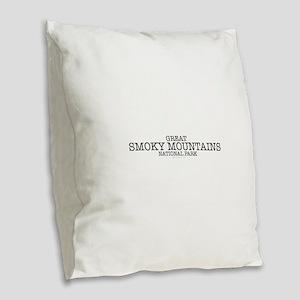 Great Smokey Mountain National Burlap Throw Pillow