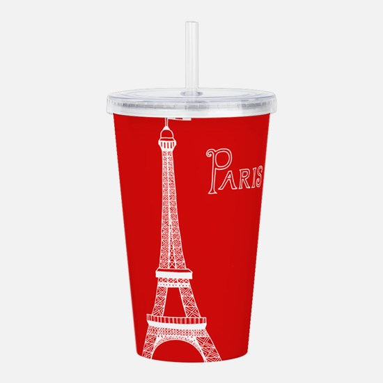 EIFFEL TOWER RED WHITE Acrylic Double-wall Tumbler