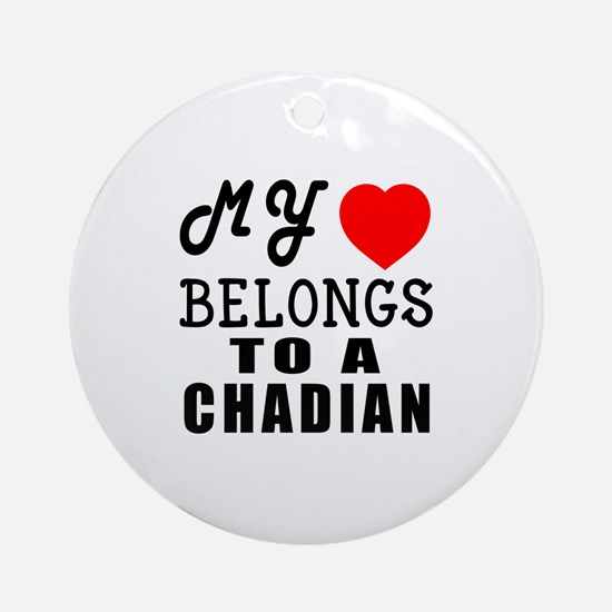 I Love Chadian Round Ornament