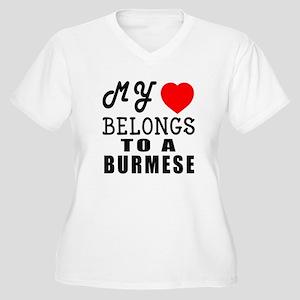 I Love Burmese Women's Plus Size V-Neck T-Shirt