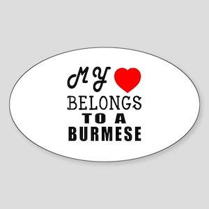 I Love Burmese Sticker (Oval)