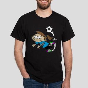 SOCCER GIRL TOON CYAN AUTISM RIBBON T-Shirt