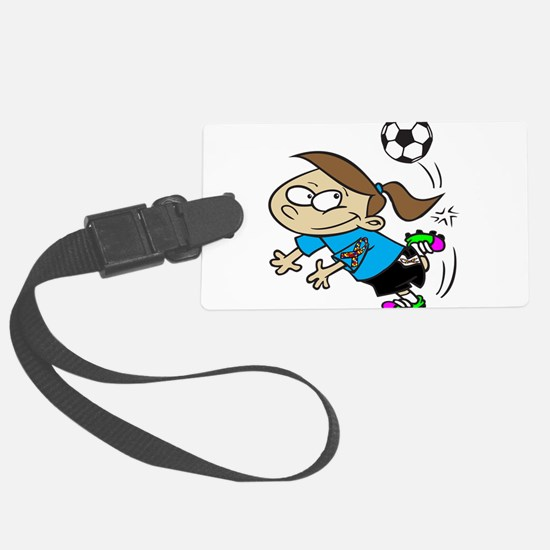 SOCCER GIRL TOON CYAN AUTISM RIBBON Luggage Tag